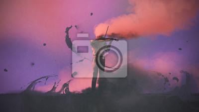 Naklejka surrealistyczne pojęcie tajemniczego muzyka z kolorowym dymem gra skrzypce, cyfrowy styl, malarstwo ilustracja