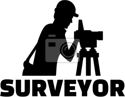 Surveyor sihouette z teodolit i zawód