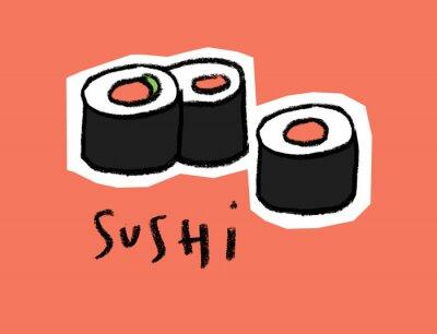 Naklejka Sushi na różowym tle