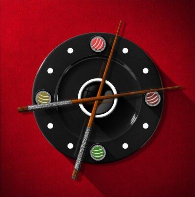 Naklejka Sushi Pojęcie czasu - Zegar / Zegar składa się z czarnej płyty z drewnianymi pałeczkami i srebra w miejscu wskazówek zegara i cztery sushi. Na czerwonym tle aksamitu