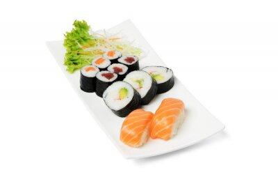 Naklejka Sushi, Teller, frisch