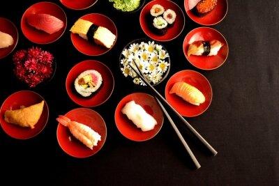Naklejka Sushi z chryzantemami