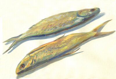 Naklejka suszone ryby malowanie