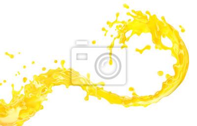 Naklejka Sweet fresh orange fruit juice, healthy drink 3D splash swirl. Fruits juice splashing - orange, tangerine, lemon,  pineapple, mandarin, peach, mango, banana, melon juice in glass spiral form isolated