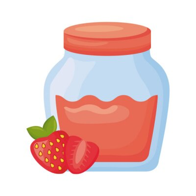 Naklejka sweet strawberry jam detailed style icon
