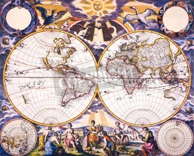 Naklejka Świat Antique Map - antyczne mapy świata