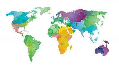 Naklejka Świat mapa kolorów wody EPS 10 wektor
