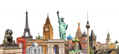 Naklejka Światowe znaczenia fotografii kolażu samodzielnie na białym tle, podróży, turystyki i badania wokół koncepcji świata