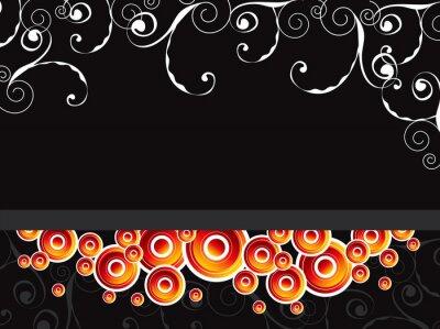 Naklejka świecące koła retro podzielone wiruje na czarnym tle