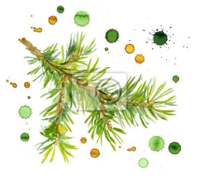 Świerk gałęzi drzewa z kroplami atramentu natrysku farb