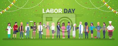 Naklejka Święto Pracy dekoraci plakat Z ludźmi Różni zajęcia Nad szablonu tła Płaską Wektorową ilustracją