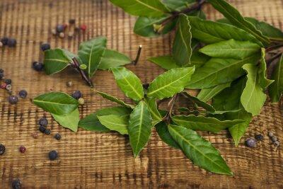 Naklejka Świeże liście laurowe na drewnianym pokładzie