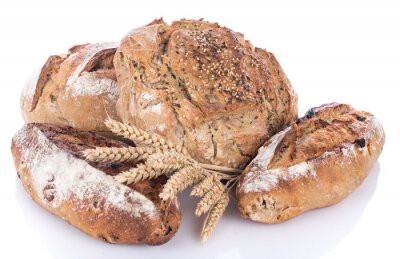 Naklejka Świeże pieczywo zbóż z kłosy pszenicy