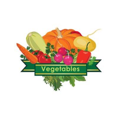 Naklejka Świeże warzywa koncepcja ikony.
