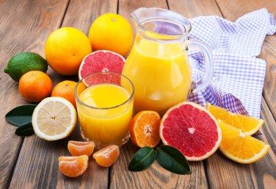 Naklejka Świeży sok z owoców cytrusowych