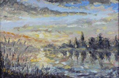 Naklejka Świt nad rzeką rano na jeziorze