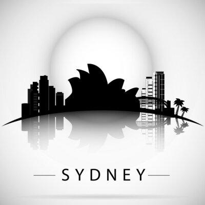 Naklejka Sydney City Skyline z refleksji. Projekt typograficzny