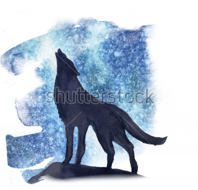 Naklejka sylvetka wilka na tle akwarela zorza polarna. Aurora Borealis