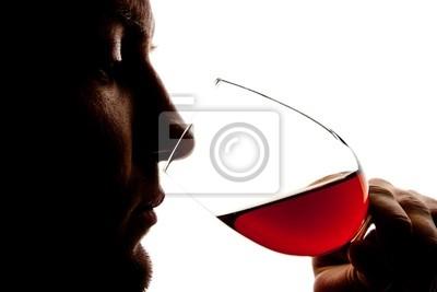 Naklejka Sylwetka człowieka degusting wina