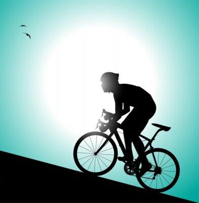 Naklejka sylwetka di ciclista che pedala w Salita