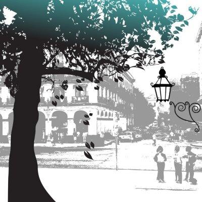 Naklejka Sylwetka, drzewo, ulica, scena,