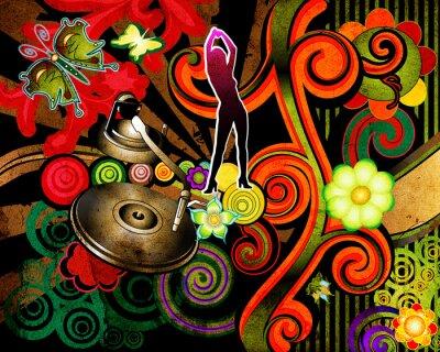 Naklejka sylwetka, gramofon i kwiaty