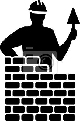 Sylwetka murarza za ceglaną ścianą
