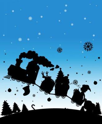Naklejka Sylwetka pociąg pełen Christmas rzeczy