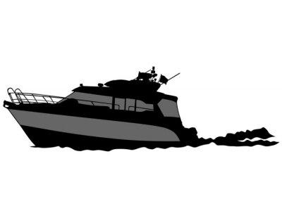 Naklejka Sylwetka retro statku na białym tle