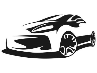 Naklejka Sylwetka samochodu tuningu