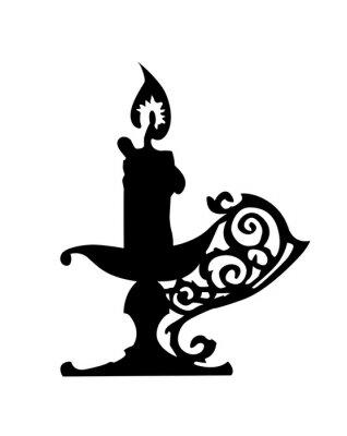 Naklejka Sylwetka świecznik na białym tle