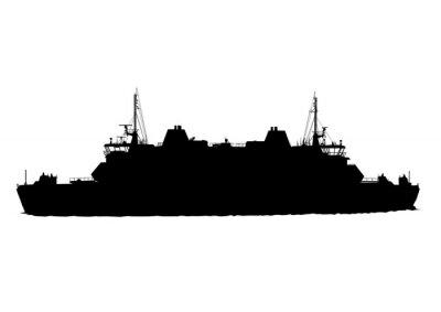 Naklejka Sylwetka wielkiego statku na białym tle