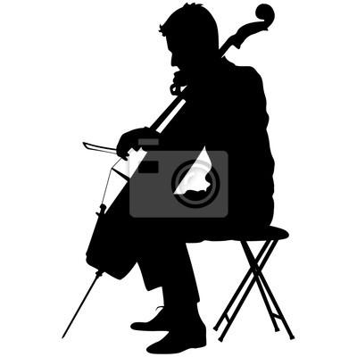 Naklejka Sylwetki muzyk grający na wiolonczeli. ilustracji wektorowych