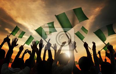 Naklejka Sylwetki osób posiadających Flaga Nigerii