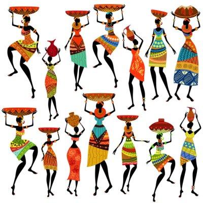 Naklejka Sylwetki pięknych afrykańskich kobiet