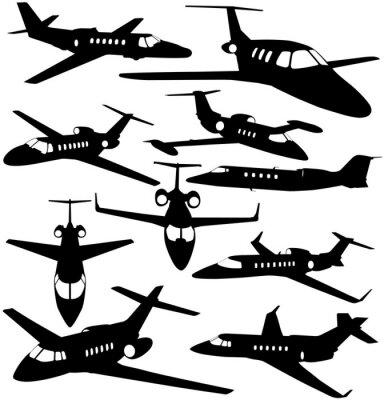 Naklejka Sylwetki prywatny odrzutowiec - kontury samolotów