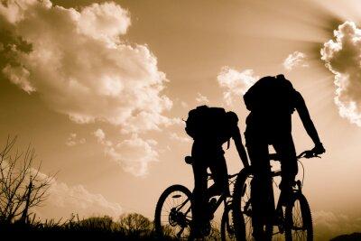 Naklejka sylwetki rowerzystów