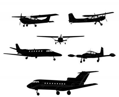 Naklejka sylwetki samolotów - wektor