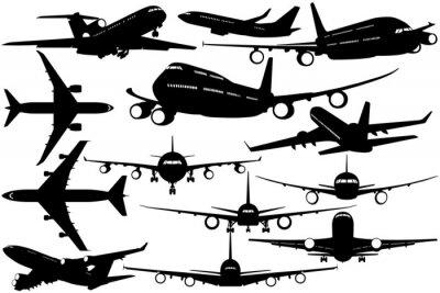Naklejka Sylwetki samolotu pasażerskiego - kontury samolotów
