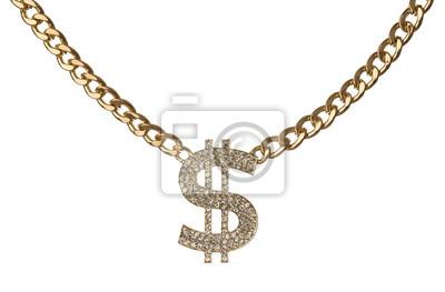 Naklejka Symbol dolara ze złotym łańcuchem na białym tle