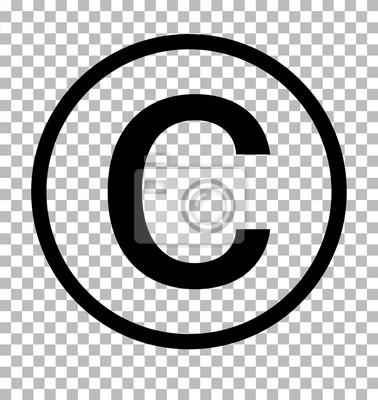 Naklejka Symbol praw autorskich na przezroczystym tle. Znak praw autorskich. Ikona praw autorskich