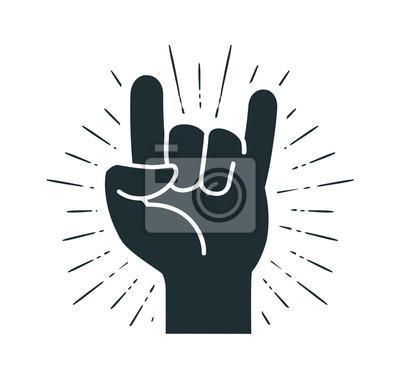 Naklejka Symbol rocka, gest ręki. Fajna, imprezowa, szacunkowa, komunikacyjna ikona. Ilustracji wektorowych Silhouette