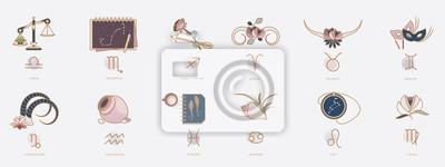 Naklejka Symbole horoskopu w kobiecym stylu, znaki zodiaku