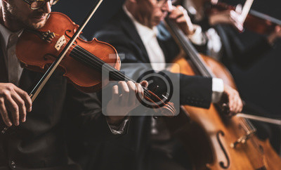 Naklejka Symphonic string orchestra performing on stage