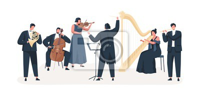Naklejka Symphony orchestra flat vector illustration. Professional musicians playing musical instruments on stage with conductor. Classical music concert. Violin, cello, clarinet, harp and french horn players.