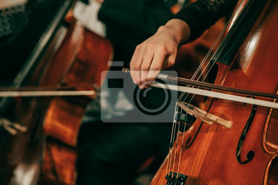 Naklejka Symphony orchestra on stage, hands playing cello. Shallow depth of field, vintage style.