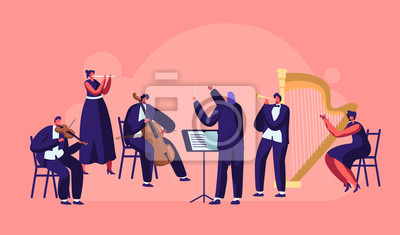 Naklejka Symphony Orchestra Playing Classical Music Concert, Conductor and Musicians with Instruments Performing on Stage with Violin, Flute, Cello, Trumpet, Harp Performance. Cartoon Flat Vector Illustration