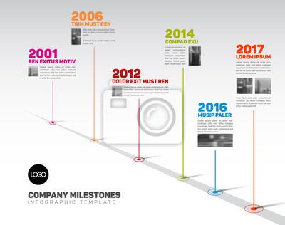Naklejka Szablon czasowy infografiki ze wskazówkami i zdjęciami