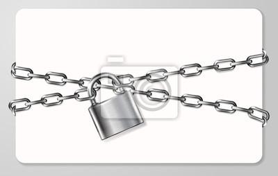 Naklejka Szary metalowy łańcuch i kłódkę, kajdanki kart, ilustracji wektorowych