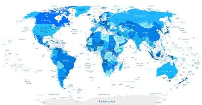 Naklejka Szczegółowa mapa świata Niebieski